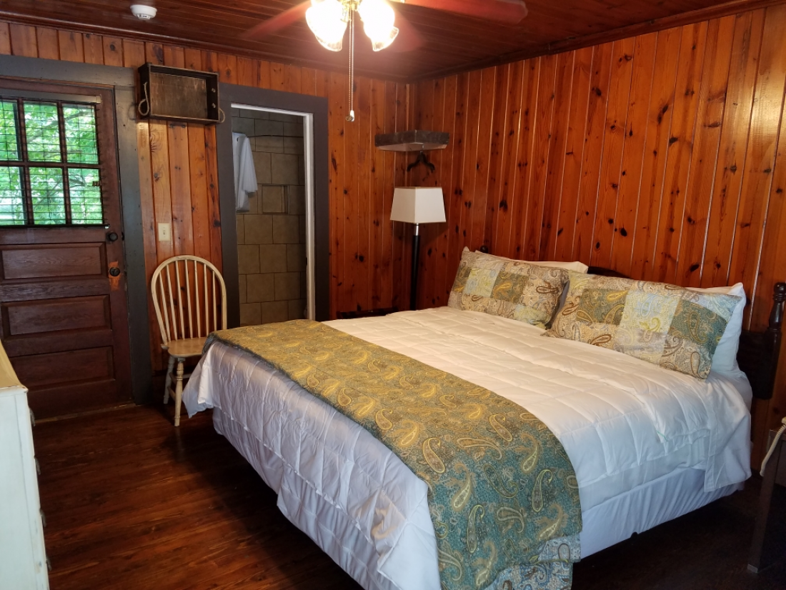 The Mountain Laurel Room Also Features Original Knotty Pine Woodwork Along With A Newly Renovated Bathroom River Rock Bottomed Shower
